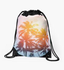 Beach sunset at the coast line Drawstring Bag