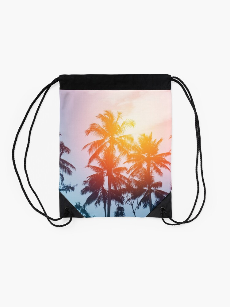 Alternate view of Beach sunset at the coast line Drawstring Bag