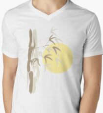 Oriental Zen Bamboo And Yellow Sunrise Mens V-Neck T-Shirt