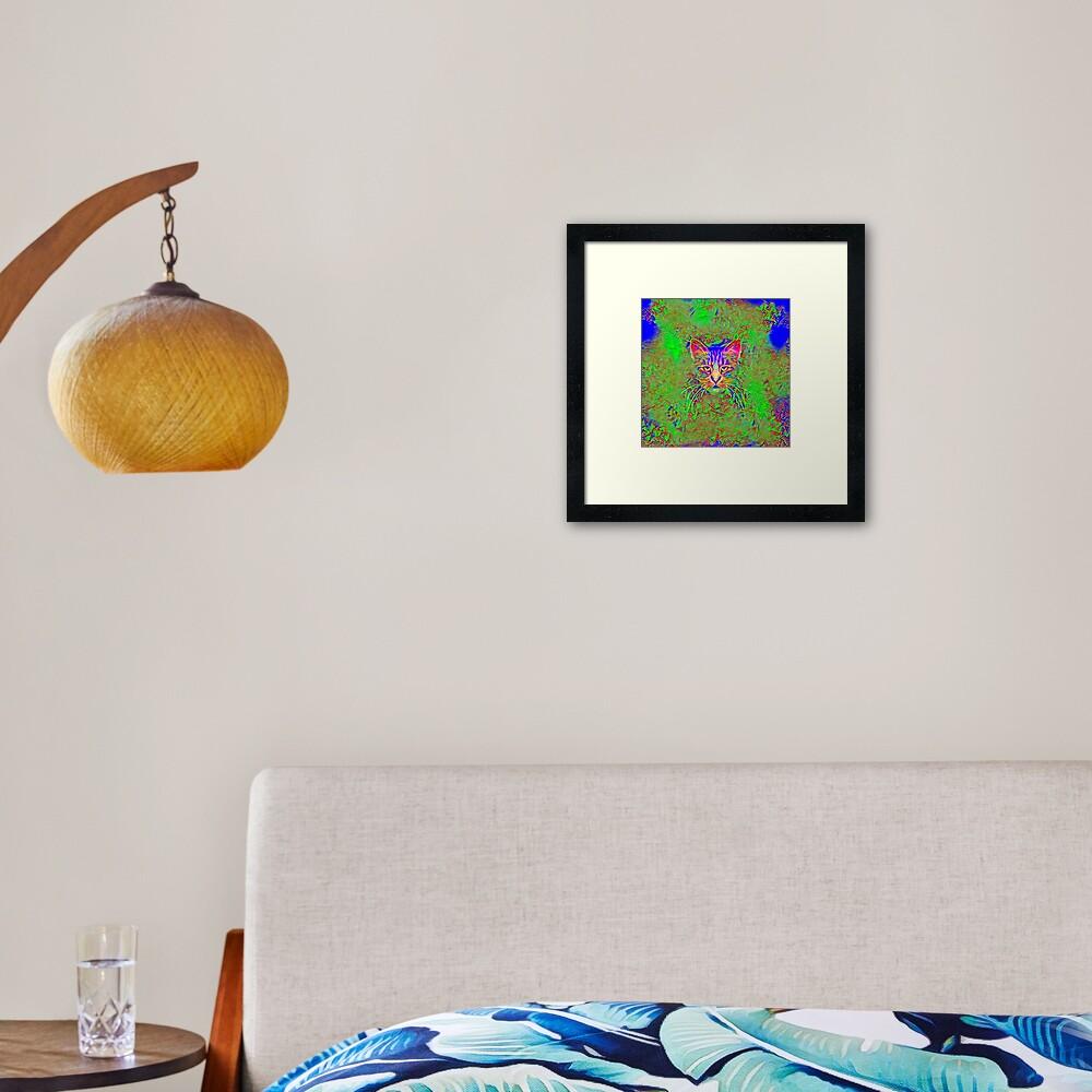 Polar aurora cat Framed Art Print