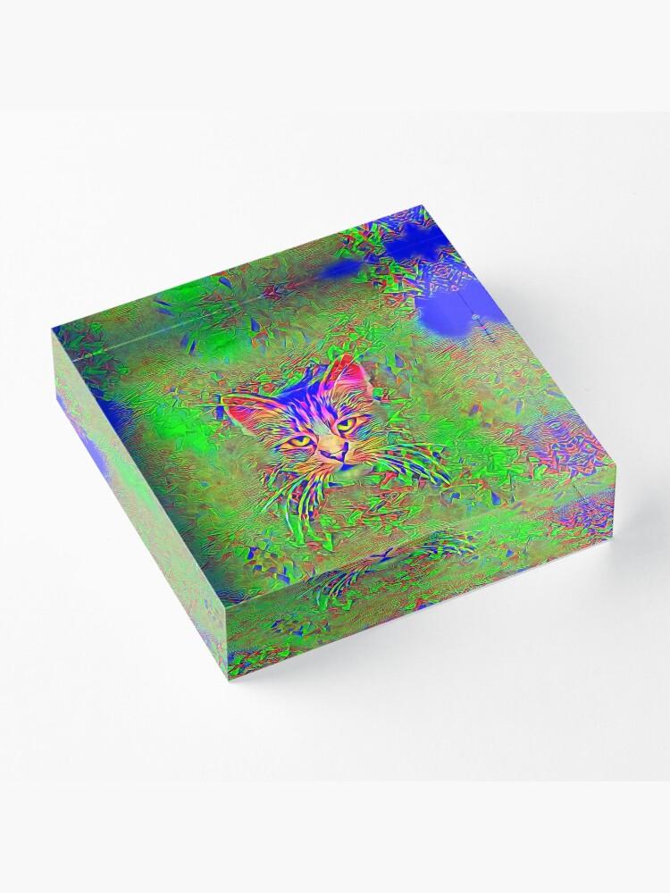 Alternate view of Polar aurora cat Acrylic Block