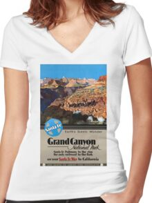USA Grand Canyon Restored Vintage Travel Poster Women's Fitted V-Neck T-Shirt