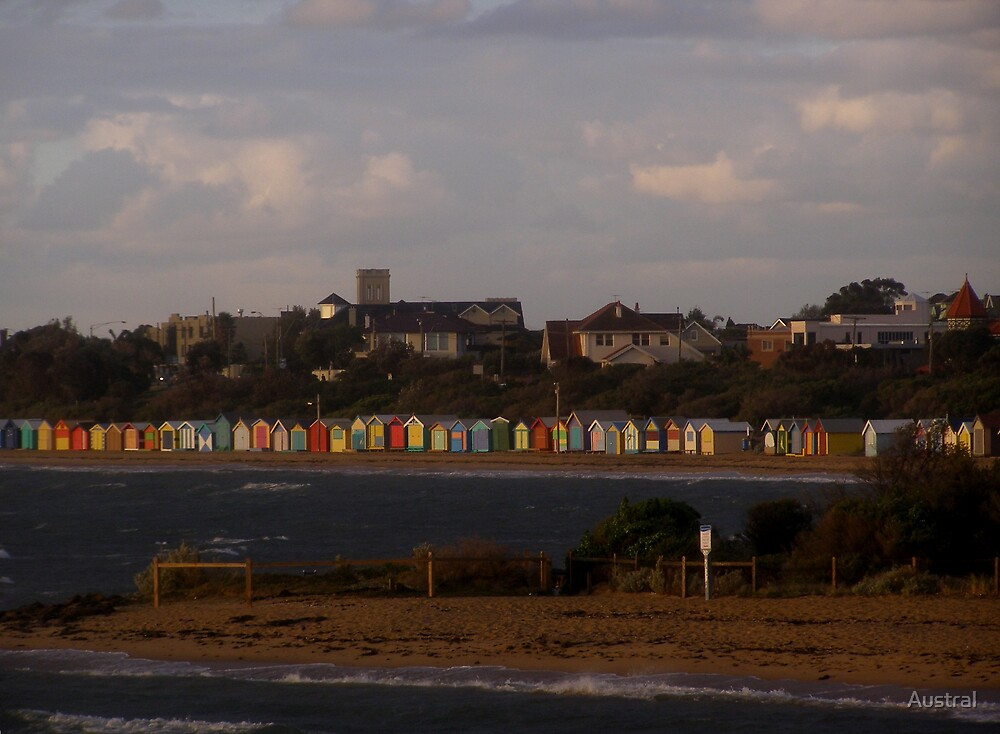 Bathing Boxes at Dusk by Austral