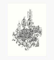 Steampunk Mushroom Airship Art Print