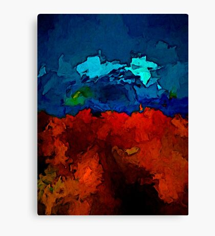 Jagged Red Rocks and Blue Sea Canvas Print