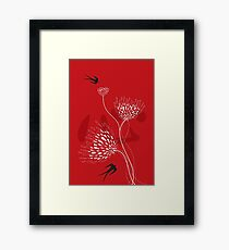Oriental Black Swallows With Chinese Calligraphy 'Xin' (Heart) and White Dandelion Flower Blooms On Red Framed Print
