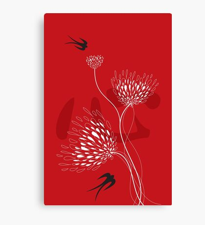 Oriental Black Swallows With Chinese Calligraphy 'Xin' (Heart) and White Dandelion Flower Blooms On Red Canvas Print
