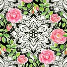 Peach Pink Roses and Mandalas on Black and White Lace by micklyn