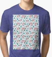 Pattern Hand Drawing Roses Leaves Tri-blend T-Shirt
