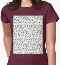Pattern Hand Drawing Roses Leaves Womens Fitted T-Shirt