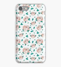 Pattern Hand Drawing Roses Leaves iPhone Case/Skin