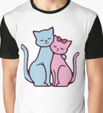 Cat Lover Pink Blue Romantic Couple Gift Graphic T-Shirt