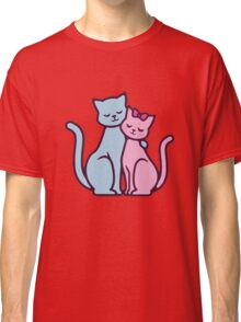 Cat Lover Pink Blue Romantic Couple Gift Classic T-Shirt
