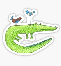 Crocodile And Birds Sticker