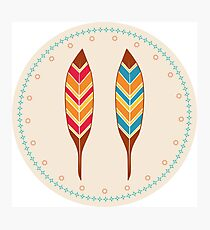 American Native Vector Illustration Feathers Photographic Print