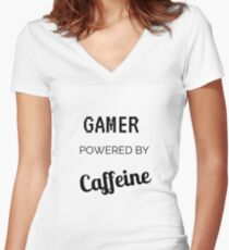 Gamer Powered By Caffeine Women's Fitted V-Neck T-Shirt