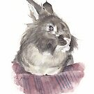 bunny watercolor by Mike Theuer