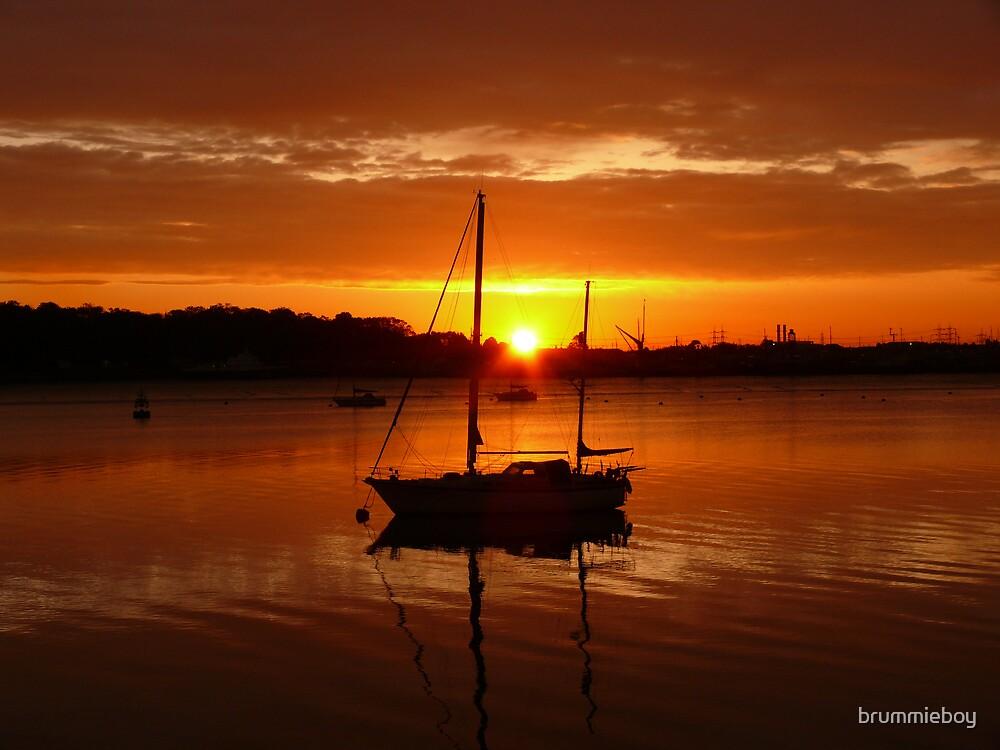 Yacht at daybreak by brummieboy