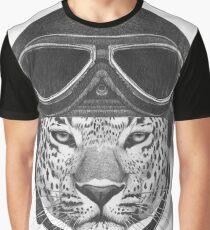Portrait of Leopard in Vintage Helmet. Graphic T-Shirt