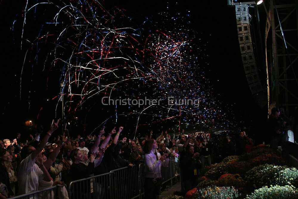 confetti over the crowd by Christopher  Ewing