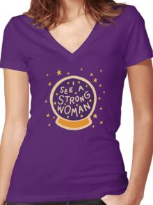 I see a strong woman Women's Fitted V-Neck T-Shirt