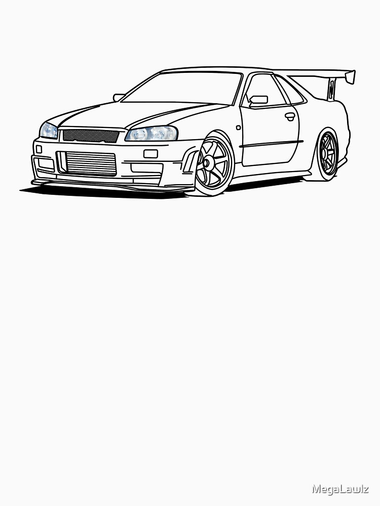 Nissan Skyline R34 Womens Fitted V Neck T Shirt By Megalawlz