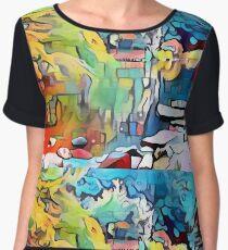 Abstract colorful graffiti pond Chiffon Top