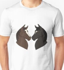 Horse heads in the shape of a heart cartoon drawing Unisex T-Shirt