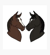 Horse heads in the shape of a heart cartoon drawing Photographic Print