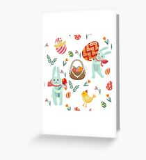 Happy Easter Seamless Pattern with Bunnies, Chicks, Eggs and Flowers Greeting Card