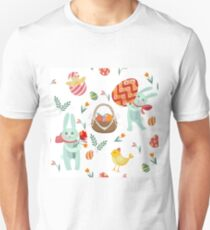 Happy Easter Seamless Pattern with Bunnies, Chicks, Eggs and Flowers Unisex T-Shirt