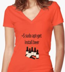 Linux sudo apt-get install beer Women's Fitted V-Neck T-Shirt