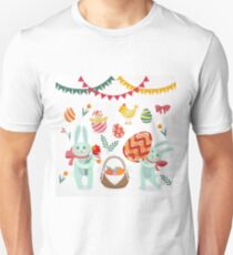 Happy Easter Set of Elements - Rabbits, Eggs, Chicks, Flowers and Garlands Unisex T-Shirt