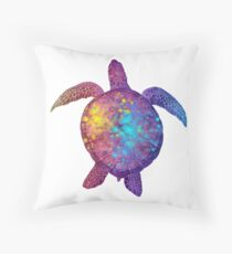 Watercolor Sea Turtle - Colorful Rainbow Throw Pillow