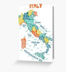 Italy decorative hand drawn map with regions. Greeting Card