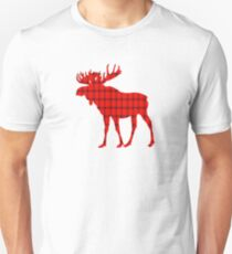 Moose: Rustic Red Plaid Unisex T-Shirt