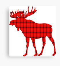 Moose: Rustic Red Plaid Canvas Print