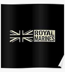 British Royal Marines Black Military Flag Poster