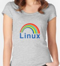Rainbow Linux Women's Fitted Scoop T-Shirt