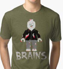 BRAINS ZOMBIE MINIFIG Tri-blend T-Shirt