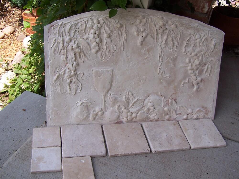 HAND SCULPTED BACK SPLASH TILE by muralmasterscolo