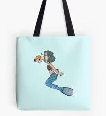 Mermaid and her Puffer Fish pal Tote Bag