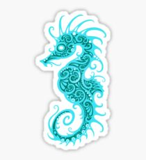 Intricate Teal Blue Tribal Seahorse Design  Sticker