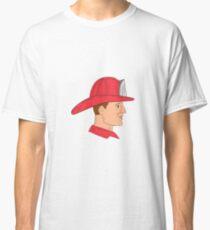 Fireman Firefighter Vintage Helmet Drawing Classic T-Shirt