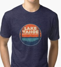 Lake Tahoe California Nevada Vintage State Travel Decal Tri-blend T-Shirt