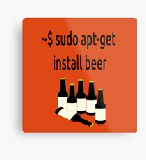 Linux sudo apt-get install beer Metal Print
