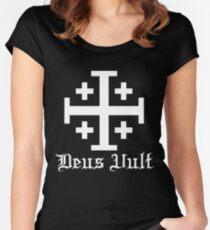 Crusader Cross - Deus Vult - White Women's Fitted Scoop T-Shirt