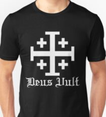 Crusader Cross - Deus Vult - White Unisex T-Shirt
