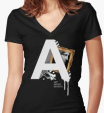 A IS FOR ART Women's Fitted V-Neck T-Shirt