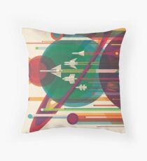 Retro Space Poster - The Grand Tour Throw Pillow